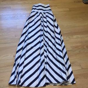 Jessica Simpson navy and white striped maxi dress